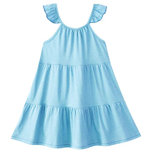 CUTUDE Girls Dresses Cotton Baby Casual Cute Solid Color Pleated Skirt Ruffle Suspender Kids Outfits Clothes 1-8 Years Fashion (Light Blue, 7-8 Years)