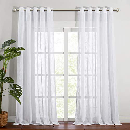 NICETOWN Semi Sheer Curtains Extra Long and Wide W70 x L108 for Living Room Windows, Grommet Faux Linen Sheer Textured Vertical Window Drapes for Sliding Glass Door / Villa, White, Set of 2