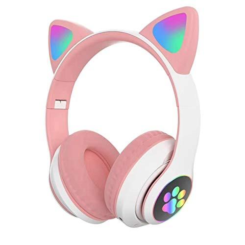 gerFogoo Bluetooth-Kopfhörer mit Katzenohren, kabellos, LED, mit Mikrofon, für Kinder und Mädchen, Rosa
