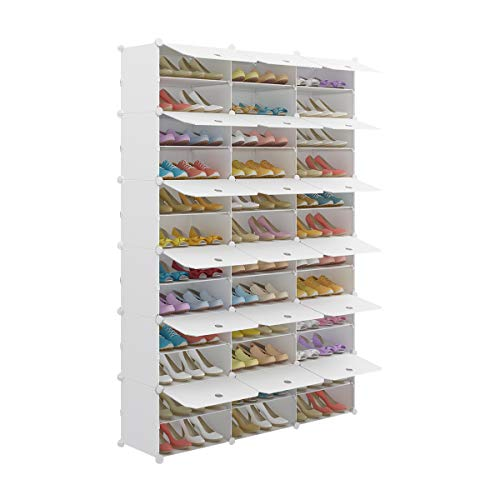 KOUSI Portable Shoe Rack Organizer Tower Shelf Storage Cabinet Stand Expandable for Heels, Boots, Slippers, 12-Tiers White