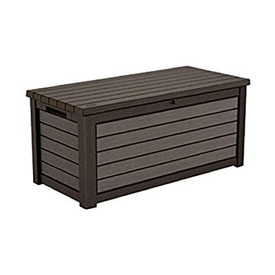 165 Gallon Weather Resistant Resin Deck Storage Container Box Outdoor Patio Garden Furniture, Brown