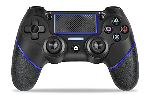 PS4 コントローラー ワイヤレス 10m遅延なし Bluetooth接続 高精度スティック タッチパッド 2重HD振動 6軸ジャイロセンサー機能 600mAhバッテリー イヤホンジャック PS4 /PS4 Pro / PS4 Slim対応 日本語取扱説明書付き