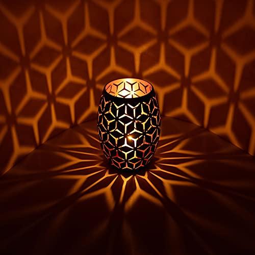 Orientalische Laterne aus Metall, Orientalisches Marokkanisches Windlicht Gartenwindlicht, Schwarz Oval Kerzenständer Kreativ Deko Kerzen Leuchter Kerzenhalter für Stumpenkerzen LED Kerzen Ständer