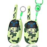 GOCOM Children Toys Walkie Talkies for 4-12 Year Old Boys Girls Gifts, 2 Pack Walky Talkie for Kids Toy, Long Range Two Way Radios for Outside, Camping, Hiking, Camouflage Green