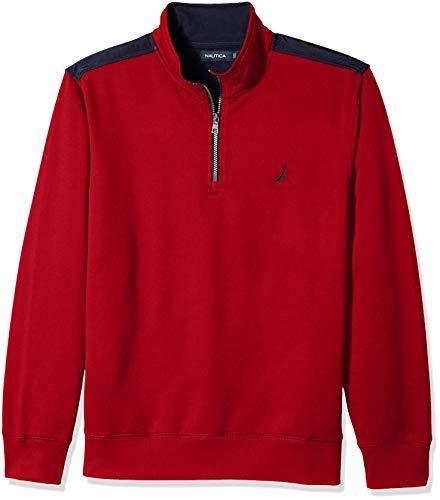 Nautica Men's 1/4 Zip Pieced Fleece Sweatshirt, red, X-Large
