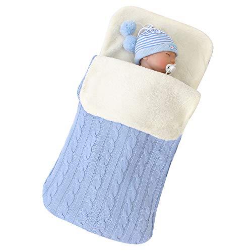 puseky Saco de dormir para bebé recién nacido de punto de forro polar cálido para invierno, para niños y niñas de 0 a 12 m