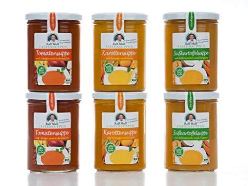 Ralf Moll Fastensuppen | 6x380ml Bio-Suppen im Glas | Abnehmen mit Suppe Intervallfasten Fastenkur Souping | Tomate Karotte Süßkartoffel