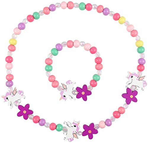 Meet-shop Holz Kinder Schmuck Set,Einhorn Freundschaftsarmband Einhorn Perlen Halskette und Armband Geschenk für Mädchen Geburtstag Party Dress Up Kostüm Zubehör