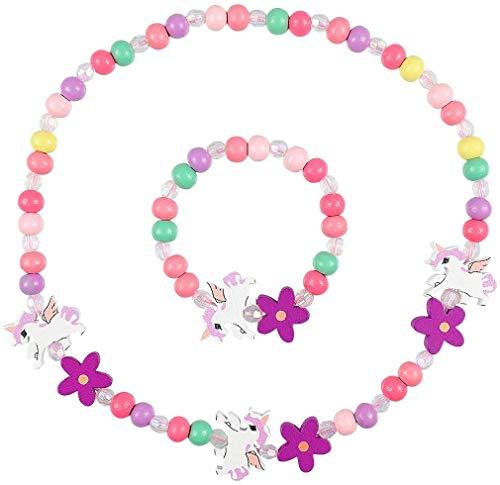 Colgante Unicornio Niñas Collar Pulsera Set, Niños Unicornio Joyas de Madera Kit Collar de Cuentas de Madera Elásticas Unicornio Princesa Beads Regalo para la Fiesta de Cumpleaños Pretender