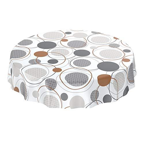 Anro - Mantel de hule lavable, 95% PVC, 5% poliéster., Círculos de geometría, color blanco y gris, Rund 120cm Schnittkante