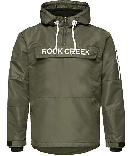 Rock Creek Herren Windbreaker Jacke Übergangsjacke Anorak Schlupfjacke Kapuze Regenjacke Winterjacke Herrenjacke Jacket H-167 Dunkelgrün 3XL