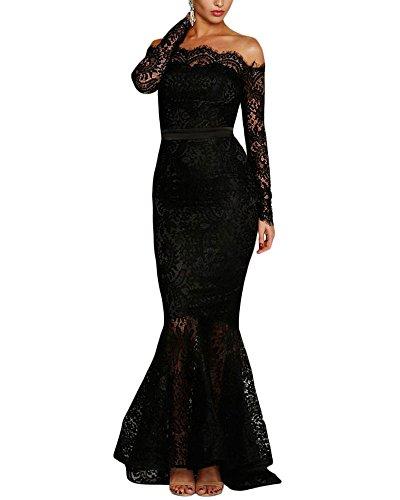 Lalagen Women's Floral Lace Long Sleeve Off Shoulder Wedding Mermaid Dress Black L