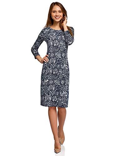 oodji Collection Damen Jerseykleid mit Tropf-Ausschnitt am Rücken, Blau, DE 34 / EU 36 / XS