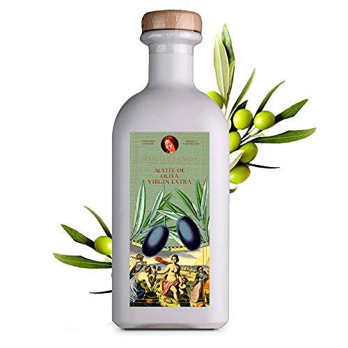 Maria de la Vara Olivenöl Virgin Extra – erste Güteklasse 1L I Natives Olivenöl Extra Vergine I Kaltgepresstes Olivenöl zum Braten & für mediterrane Küche I Aceite de Oliva – Made in Spain
