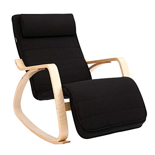 SONGMICS Silla Mecedora, Sillón Tumbona, Reposapiés Ajustable, Ideal para Sala de Estar, Estudio,...