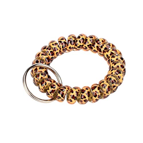 ZNZN Key Holder (10 Pack) Plastic Coil Stretch Elastic Spring Spiral Bracelet Key Ring,Wristband Keychain,Spring Key Holder For School And Outdoor keychain (Color : Brown)