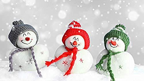 Tapete Wandbild 3D selbstklebend niedlich farbigen Schneemann in Weihnachtsmütze PVC Fotos Tapete Kinderzimmer Jung Wanddekoration fototapete 3d Tapete effekt Vlies wandbild Schlafzimmer-350cm×256cm