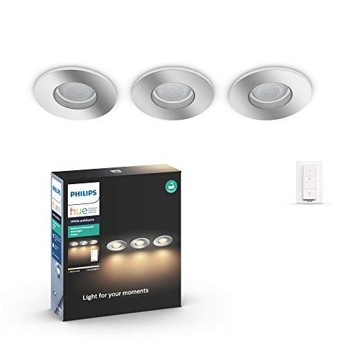 Philips Hue Adore - Intelligente LED-Badleuchte mit Fernbedienung, Weiß Einbaustrahler 3 Puntos de luz weiß
