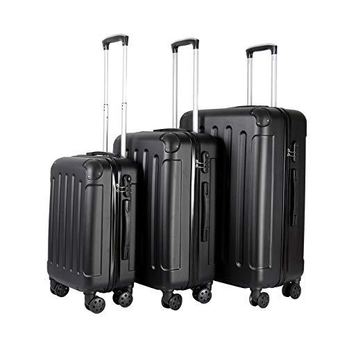 VOSSBACH 3er Kofferset Trolley Koffer Set Hartschalenkoffer Reisekoffer Gepäck Hartschalen Rollkoffer Schwarz