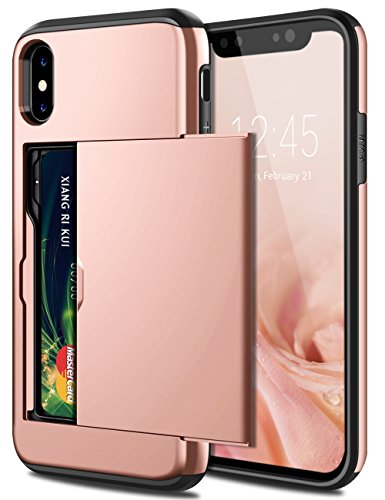 SAMONPOW iPhone X Case, iPhone 10 Case,Hybrid iPhone X Wallet Case Card Holder Shell Heavy Duty Protection Shockproof Anti Scratch Soft Rubber Bumper Cover Case for iPhone X 5.8 inch Rose Gold