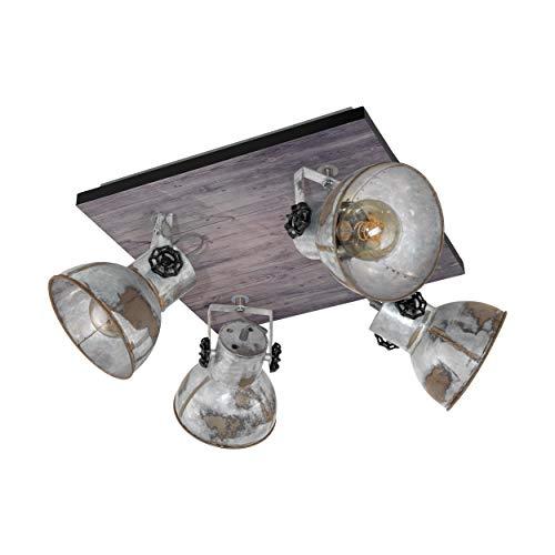 EGLO Lampe de Plafond Barnstaple, Spot de Plafond Vintage à 4 Flammes Au design Industriel, Spot Mural Rétro en Acier Aspect Zinc Usé et enBois, Couleur : Marron Patiné, Noir, Douille : E27