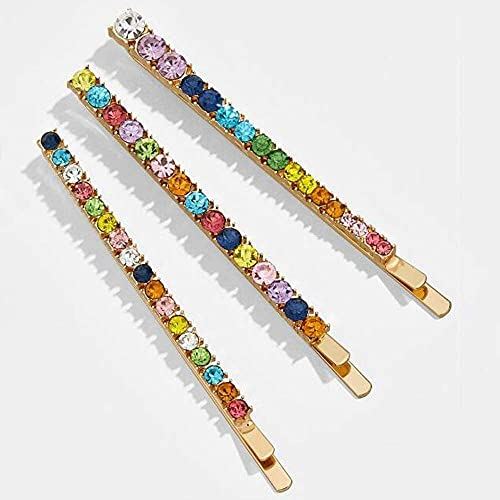 Sgxiyue Horquillas para Mujeres 3 PCS Rainbow Colorido Horquillas Cristal Rhinestone Pelo Play Clip Barrette para Mujeres Niñas Estilo de Vacaciones Varettes Accesorios para el Cabello