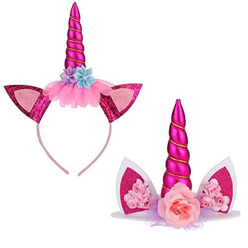 Einhorn Deko Kindergeburtstag, Einhorn Topper und Haarband, Einhorn Stirnband Blume Stirnband für Mädchen Erwachsene Cosplay Kostüm Halloween Geburtstag Party Weihnachtsfeier