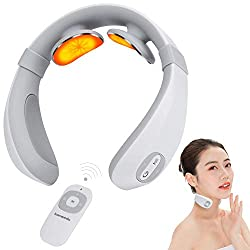 Neck Massager,Smart Portable Neck Massager with Heat Pulse,6 Modes and 15 Levels Deep Tissue Trigger Massage,Intelligent Cordless Remote Control,for Home ,Office ,Women Men Gift