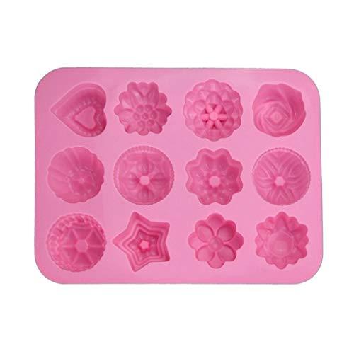 VVXXMO Moule en silicone avec motif de fleurs 3D en forme de cœur et d'étoile en forme de cœur, moule à pudding au chocolat, fabriqué à la main pour bricolage, glaçons, gâteaux, biscuits