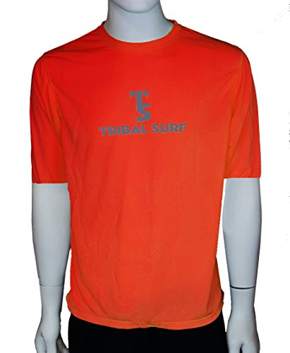 Tribal Surf Men's Short Sleeve Loose-fit Rash Guard (Bright Orange, X-Small)