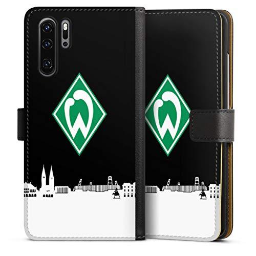 DeinDesign Klapphülle kompatibel mit Huawei P30 Pro Handyhülle aus Leder schwarz Flip Case Offizielles Lizenzprodukt Skyline SV Werder Bremen