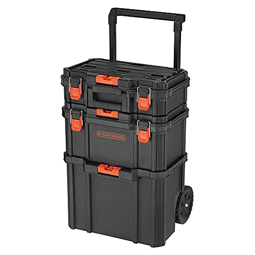 beyond by BLACK+DECKER BLACK+DECKER BDST60500APB Stackable Storage System - 3 Piece Set (Small Toolbox, Deep Toolbox, and Rolling Tote)