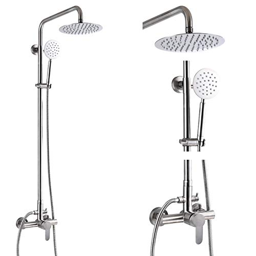 Outdoor Shower Fixture System Combo Set Rainfall Single Handle High Pressure Hand Spray Wall Mount 2 Dual Function Brush Nickel SUS304