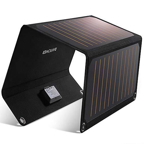 Solar Ladegerät, RAVPower 21W Solarladegerät Outdoor, 2 Port USB Solarpanel Handy Ladegerät, Leicht, Faltbar, Wasserdicht, Kompatibel mit Allen Handys, iPad, Kamera, Tablet usw.