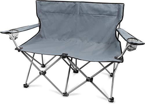 normani 2-Sitzer Campingstuhl Doppelklappstuhl Campingsofa bis 250 Kg inkl. Tragebeutel und Getränkhalter Farbe Grey