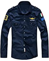 Lavnis Men's Flight Shirts Jacket Casual Long Sleeve Lightweight Shirt Jackets Blue L