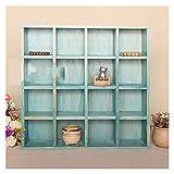 置物 木製レトロな小格字分類雑貨貯蔵ボックスアイテム正方形の広場収納箱ぶら下がっている壁掛け スタイリッシュなインテリア (Color : Blue, Size : 16)
