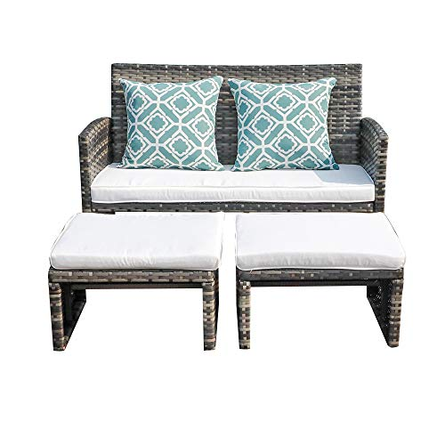 OC Orange-Casual Patio Wicker Furniture Set Outdoor Conversation Set Rattan Loveseat with Ottoman, White Cushions, Grey Wicker