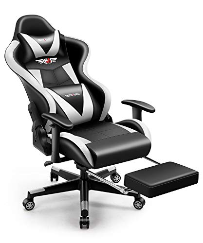 Office Chair,PatioMage Gaming Chair Racing Office Chair Desk Chair Headrest Lumbar Support Comfortable Computer Game Chair PU Leather Ergonomic Reclining PC Gaming Chairs (Black White)