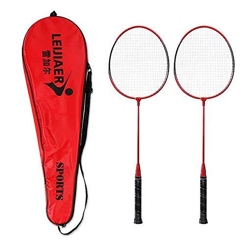 JGRH 2 Player Bádminton Raqueta Set para Exteriores Outdoor Bádminton Raqueta Deportes Estudiantes Niños Práctica Bádminton Raqueta con Bolsa de Tapa (Color : Red)