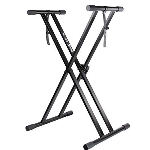 Heavy duty double-x metal construction ensures extra stability for heavy and light digital electronic keyboards Quick-release mechanism allows the user to adjust the height, from 4 - 38 in; compared to most other stands which only permit five set pos...