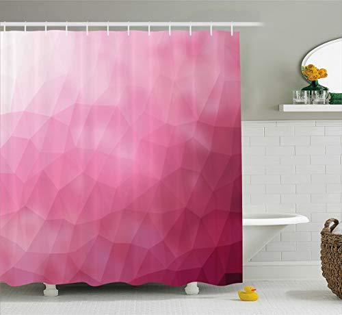 oooooo Moderner Duschvorhang Zusammenfassung Verschiedene Abstufungen Rosa mit fragmentierten Effekten Design Stoff Badezimmer Dekor mit Magenta Fuchsia 183 * 183CM