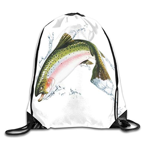 Drawstring Backpack Sports Gym Bag for Women Men, D1841 Salmon Jumping Out Of Water Making Splashes Cartoon Design Photorealistic Airbrush