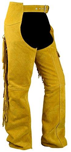 Chaps Fransenhose Reiter Cowboy Indianer Western Lederchaps Lederhose Ocker, Größe:50
