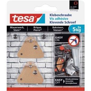 Tesa - Juego de 6 tornillos adhesivos triangulares para mampostería y piedra (5 kg), color marrón
