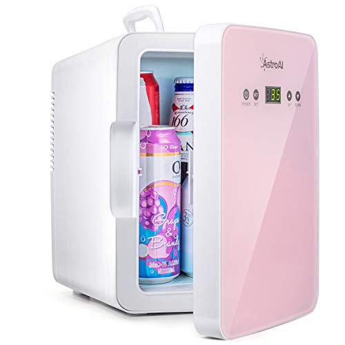 AstroAI Mini Fridge 6 Liter/8 Can Skincare Fridge for Bedroom - with Upgraded Temperature Control Panel - AC/12V DC Thermoelectric Portable Cooler and Warmer for Skin Care, Foods,Medications (Pink)