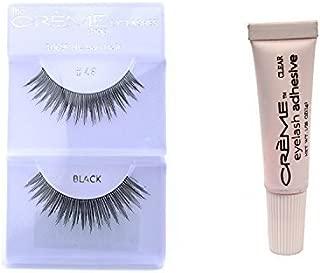 12 Pairs Creme 100% Human Hair Natural False Eyelash Extensions Black #46 Natural Lashes by Creme Eyelash