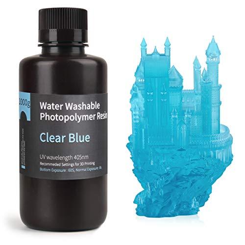 ELEGOO Lavable con Agua 3D Resina rápida para Impresora 3D LCD Resina de Curado UV Resina de Fotopolímero Estándar de 405 nm para Impresión LCD 3D 1000Gram Azul Claro