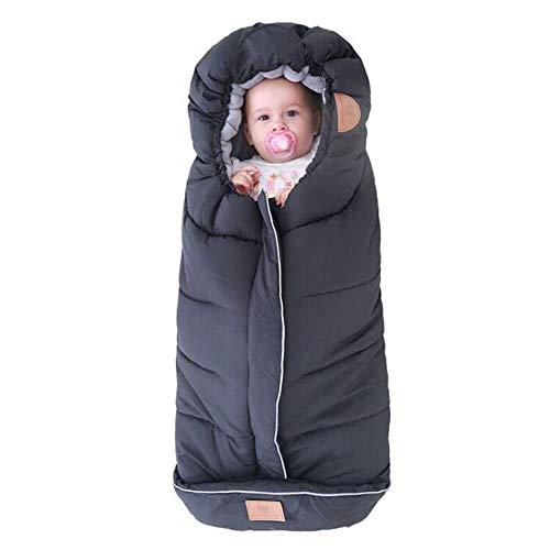 Saco de dormir universal para cochecito de bebé, forro acogedor para los dedos del pie, manta de cochecito con forro polar, saco de dormir impermeable para bebé con capucha con cordón, se adapta a cua