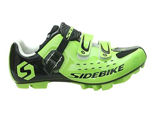 Zapatillas MTB Ciclismo Mountain Bike profesionales transpirables para hombre y mujer, compatibles con pedales SPD (44, Verde/Negro-001)